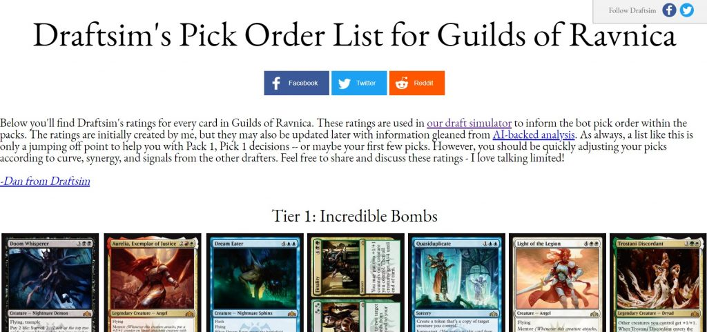 Pick order list example for Guilds of Ravnica