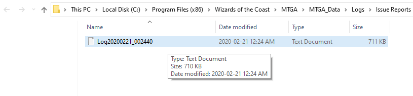 MTG Arena log folder and file