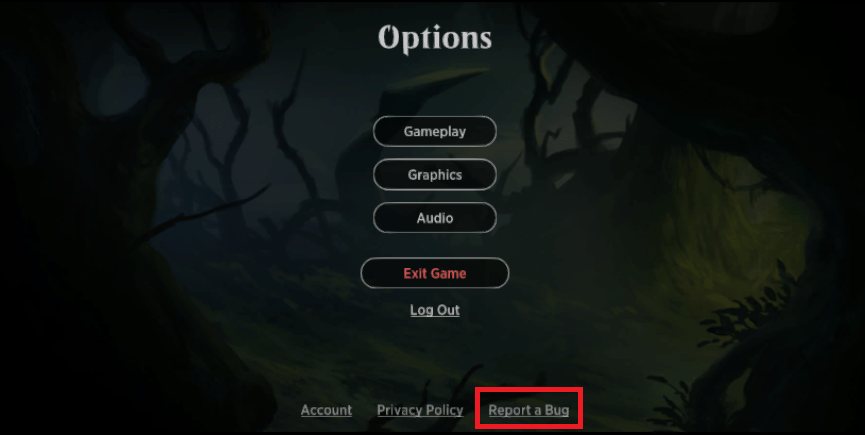 MTG Arena options menu Report a Bug button