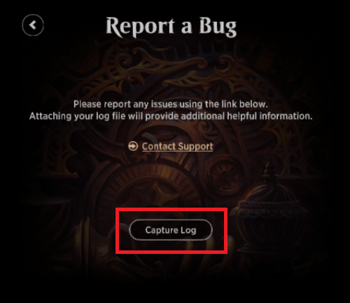 MTG Arena report a bug menu Capture Log button
