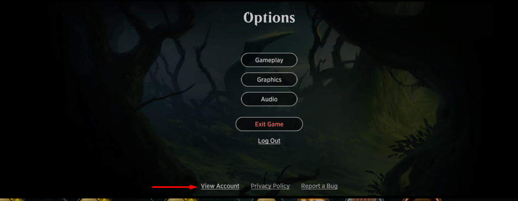 MTGA options screen