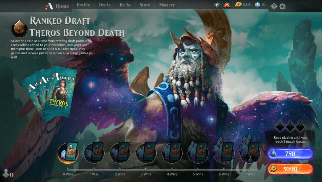 MTG Arena Ranked Draft Theros Beyond Death event lobby