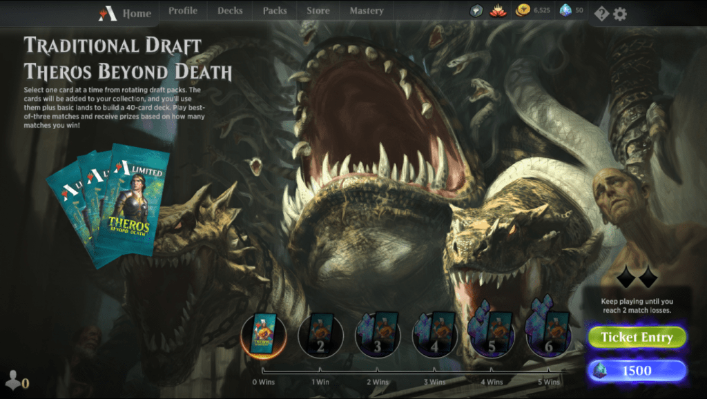 MTG Arena Traditional Draft Theros Beyond Death event lobby