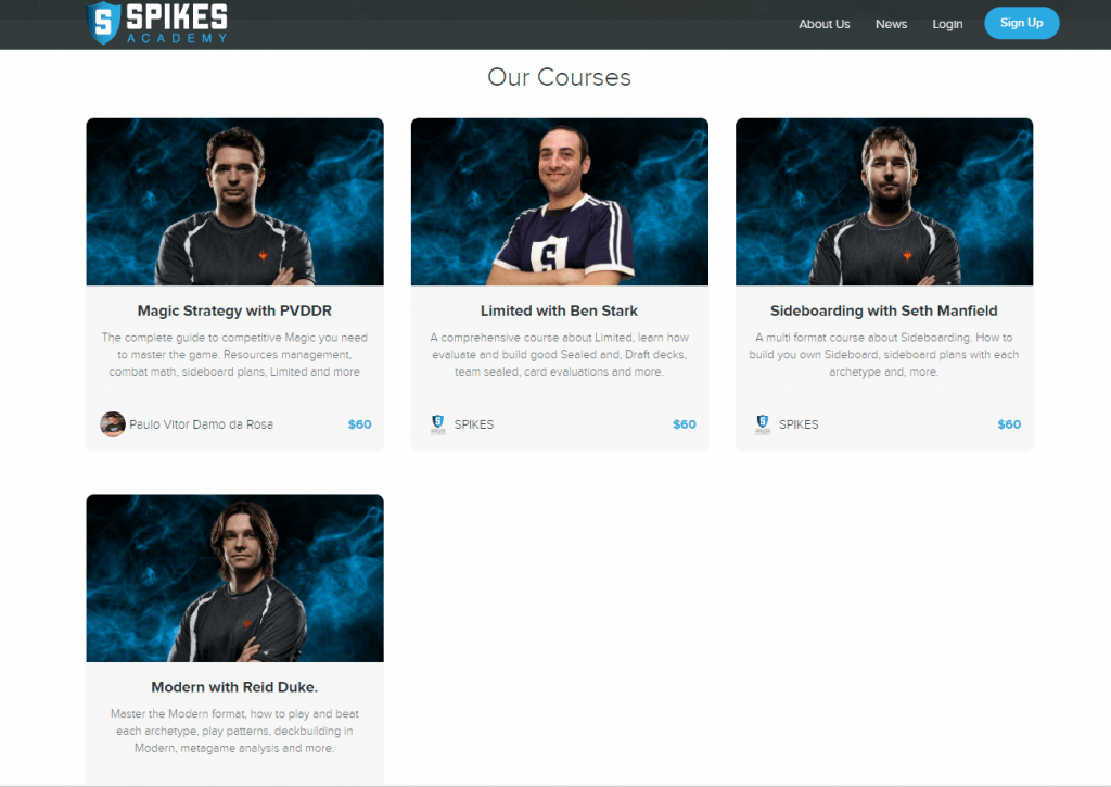 Spikes academy courses main page