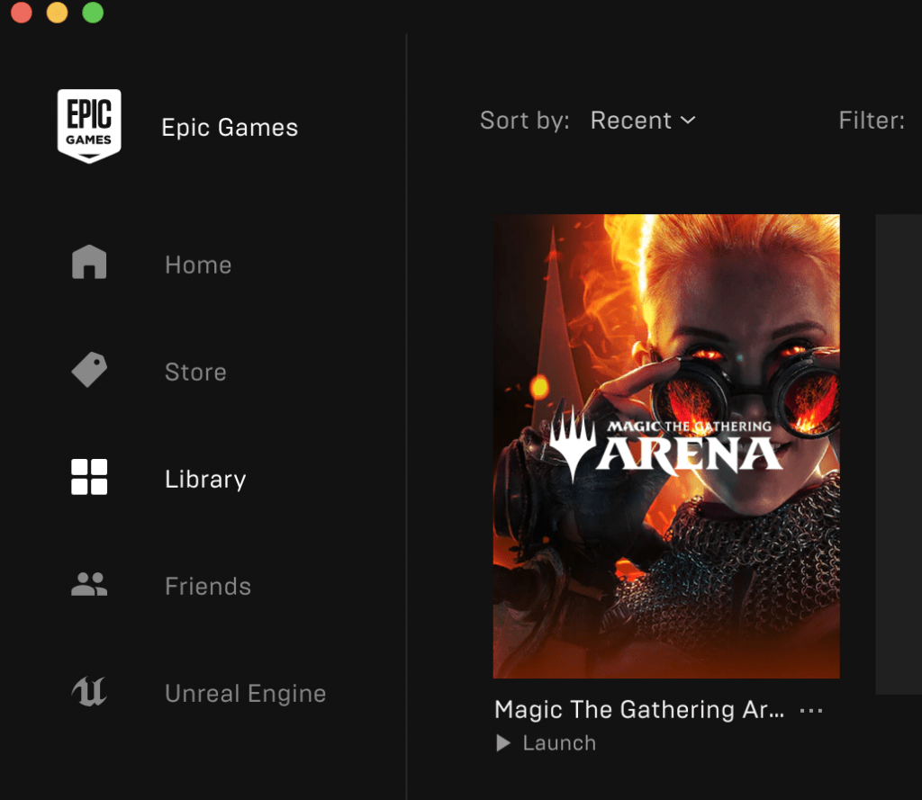 """MTG Arena in Epic Games """"Library"""""""