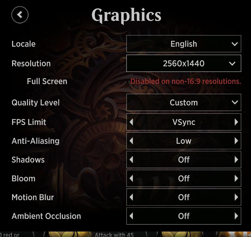 MTG Arena on Mac custom graphics settings