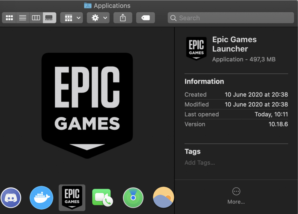 Epic Games in Applications double-click