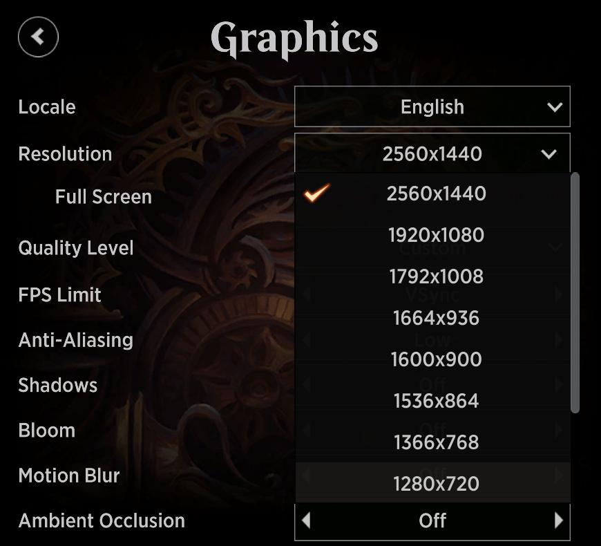 MTG Arena on Mac resolution settings