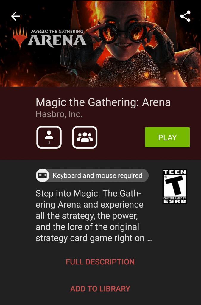 GeForce NOW on Android arena page