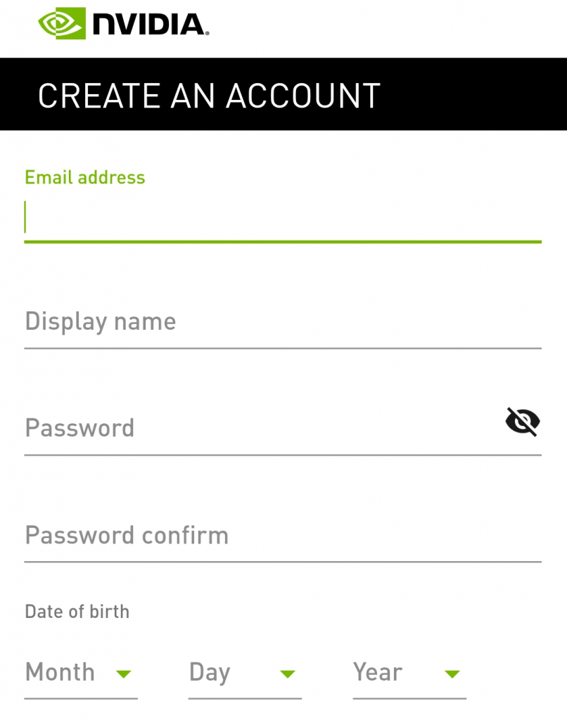 GeForce NOW on Android create an account page