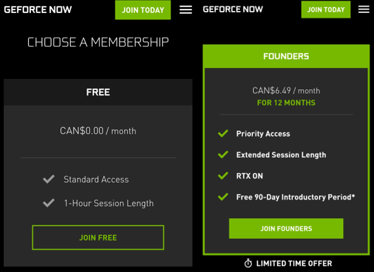 GeForce NOW on Android sign-up memberships
