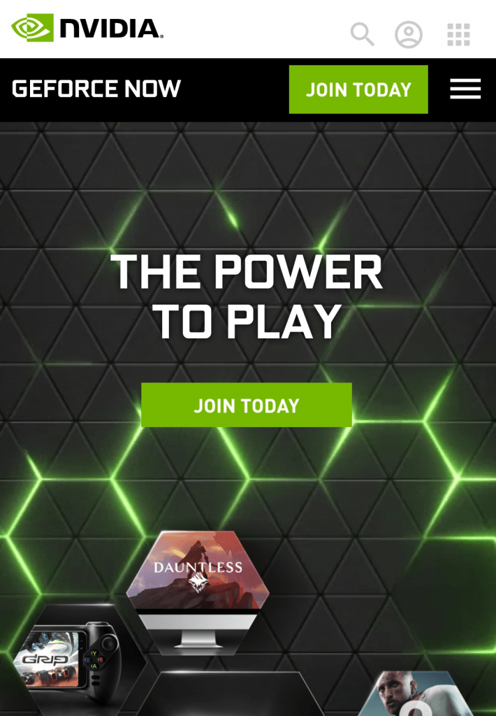 GeForce NOW on Android sign-up page