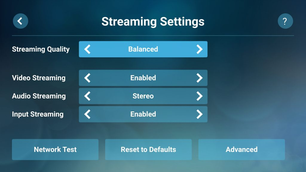 Steam Link on Android Streaming Settings