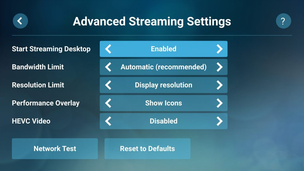 "Steam Link on Android Start Streaming Desktop option ""Enabled"""