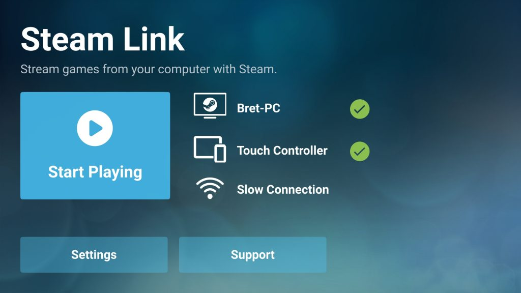 "Steam Link on Android ""Start Playing"""