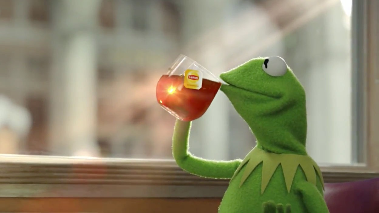 Kermit the Frog sipping Lipton tea