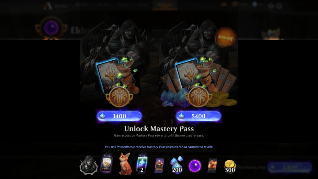 MTG Arena Mastery Pass purchase screen
