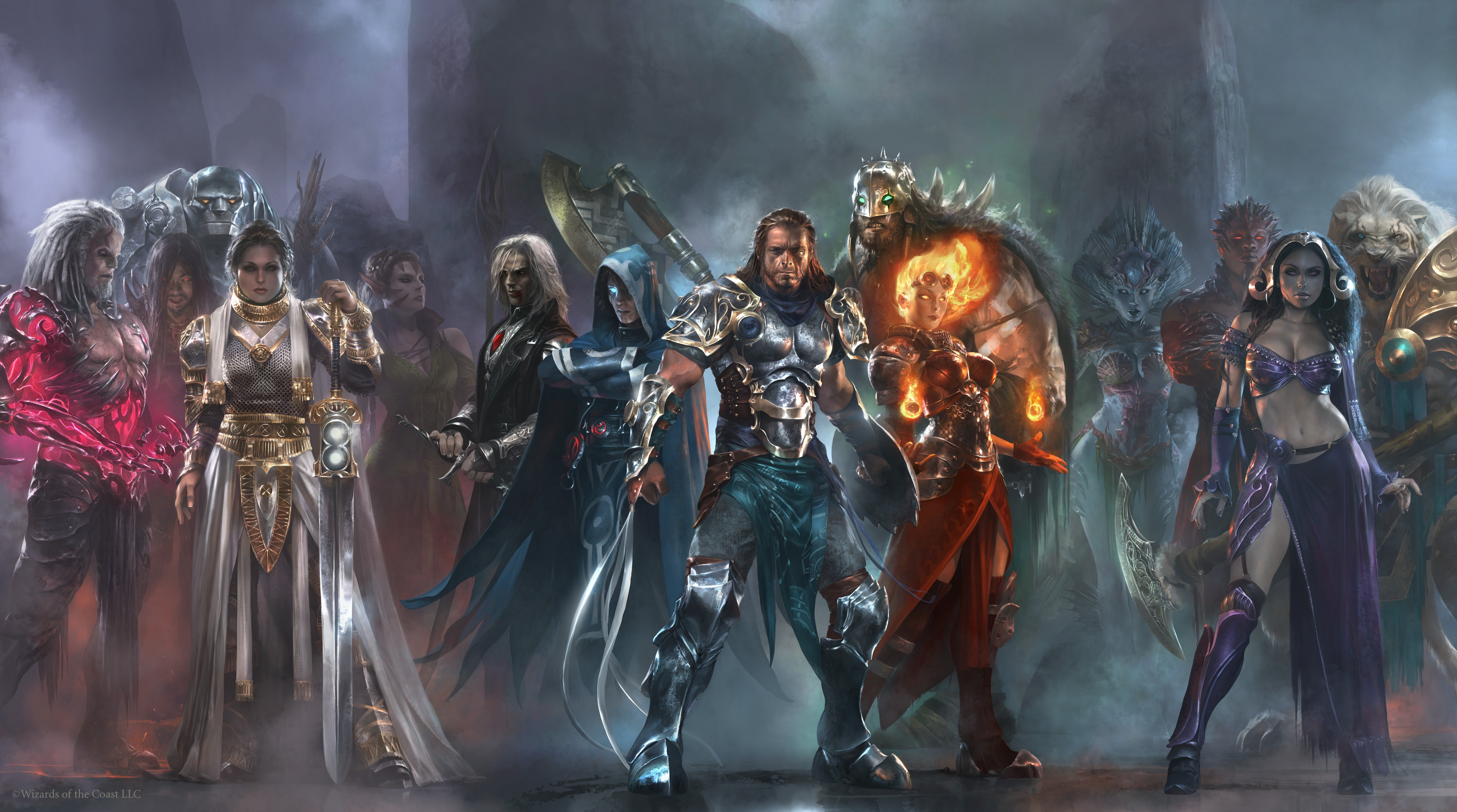 a bunch of planeswalkers standing together