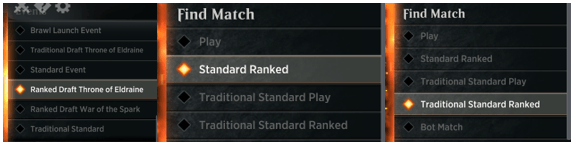 """Ranked"" match buttons in MTGA"