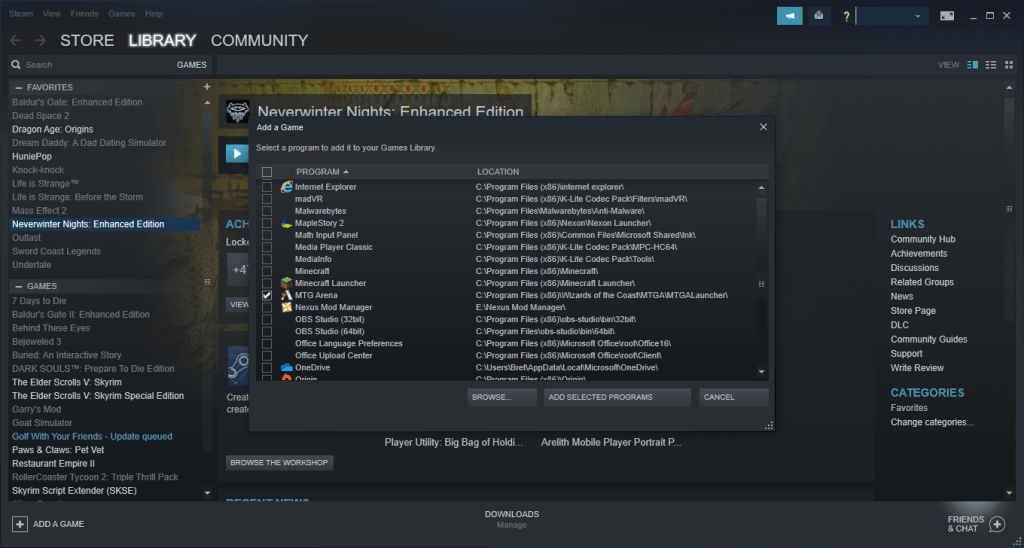 Adding MTG Arena to Steam