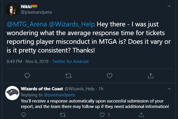 @Wizards_Help twitter account confirming response time for reporting players in MTG Arena