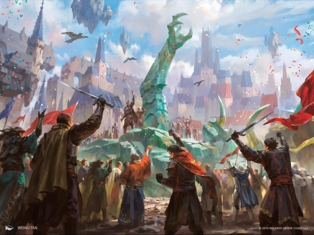 Planewide Celebration MTG card art by Wisnu Tan