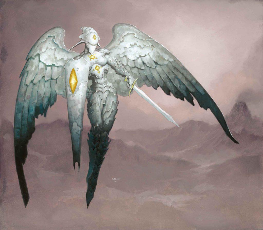 Platinum Angel MTG card art by Brom