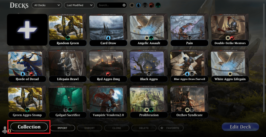 MTG Arena 'Collection' button on 'Deck' tabs