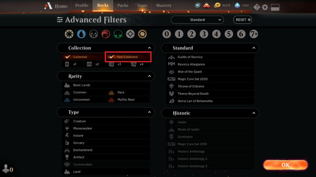 MTG Arena deck building filters options