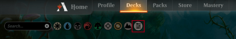 MTGA Advanced Filters button