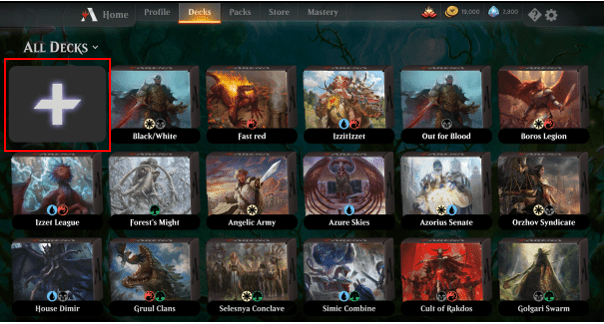MTG Arena create new deck