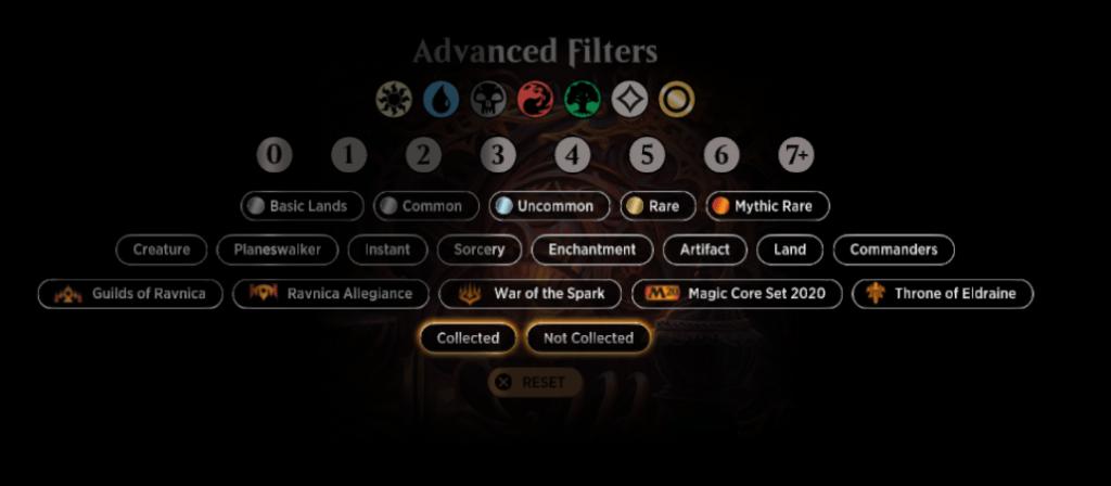 MTGA deck building Advanced Filters options