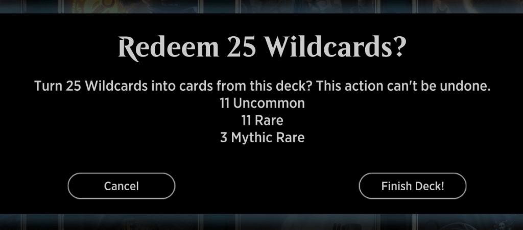MTGA redeeming bulk Wildcards