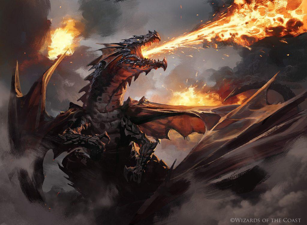 Drakuseth, Maw of Flames MTG card art by Grzegorz Rutkowski