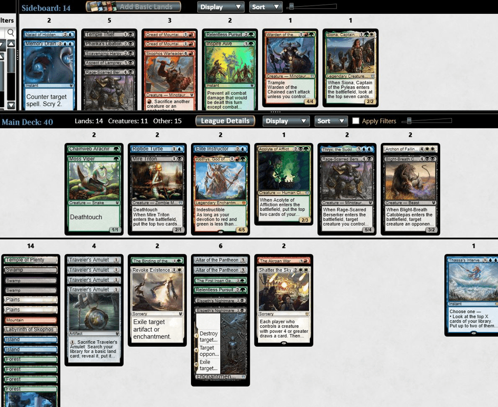 5 Colour Monstrosity MTGO draft deck