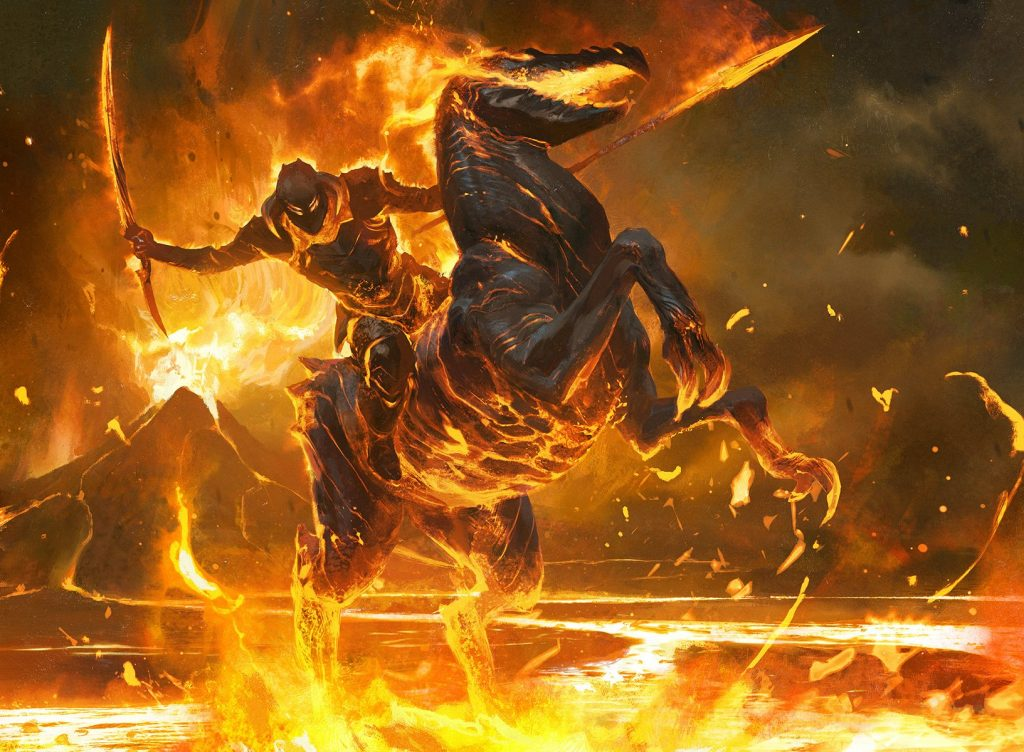 Cavalier of Flame MTG card art by Wesley Burt