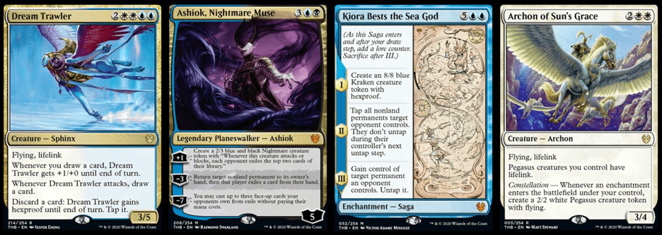 Dream Trawler, Ashiok Nightmare Muse, Kiora Bests the Sea God, and Archon of Sun's Grace MTG cards