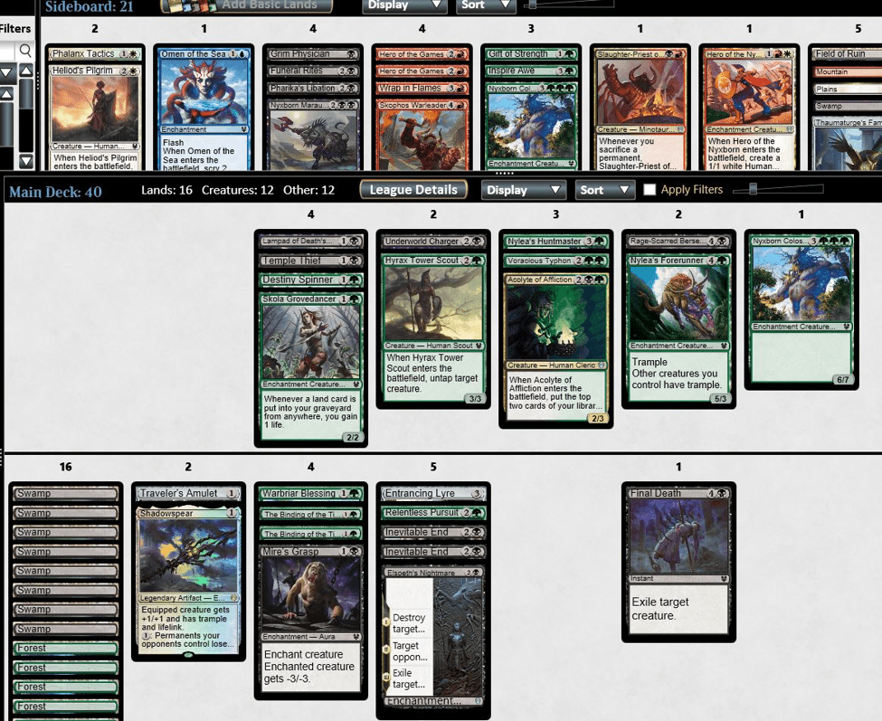Golgari Escape Midrange MTGO draft deck