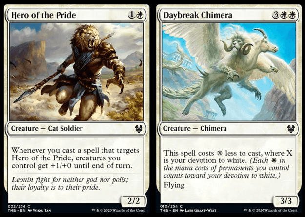 Hero of the Pride and Daybreak Chimera MTG cards