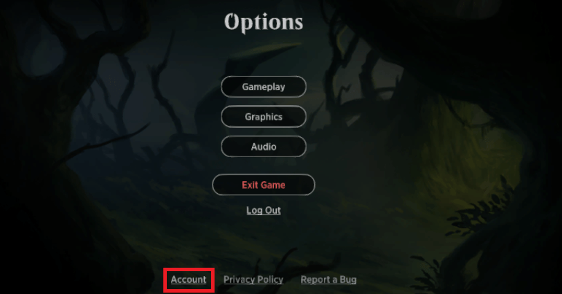 MTG Arena Account options menu
