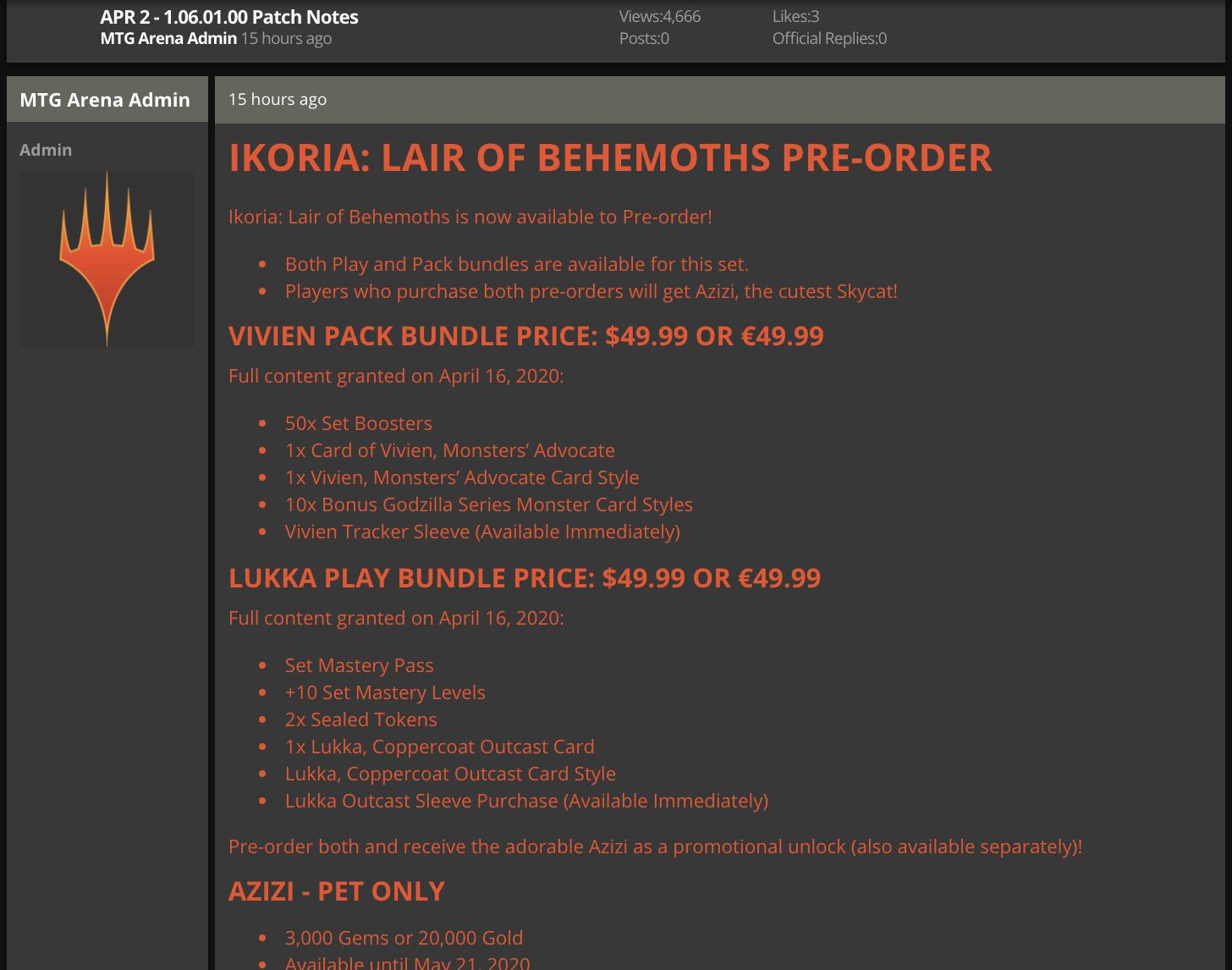 MTG Arena April 2 1.06.01.00 game update
