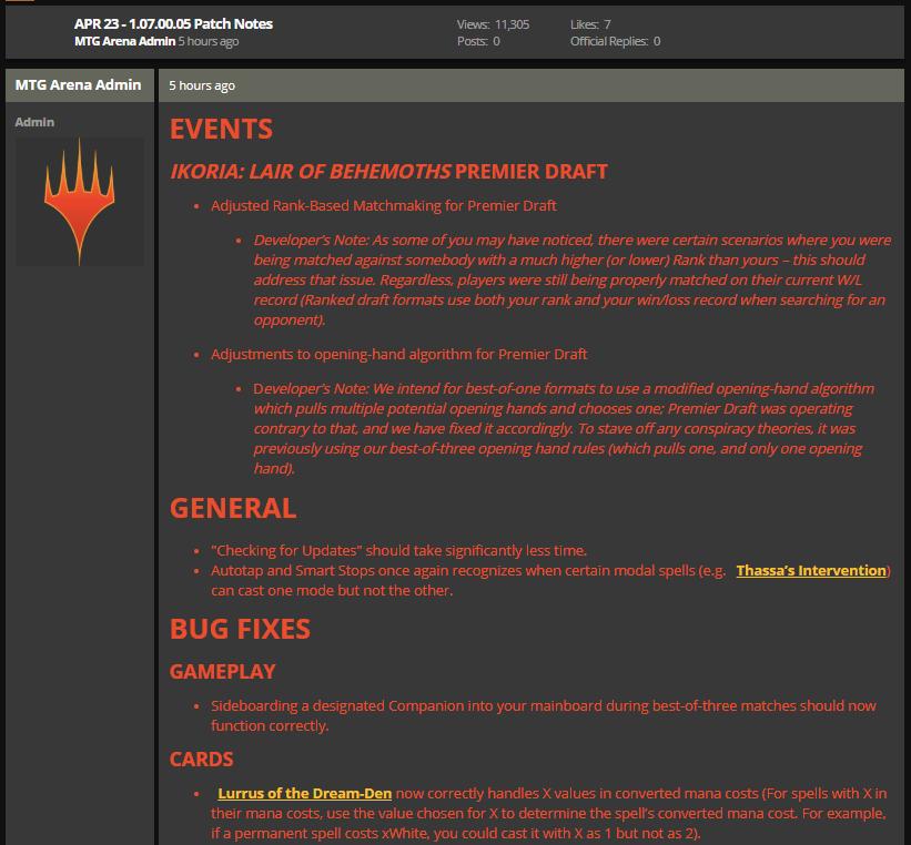 MTG Arena April 23 1.07.00.05 set release fixes