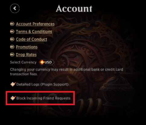 MTG Arena Block Incoming Friend Requests option