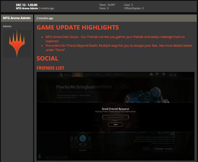MTG Arena Dec 12 1.03.00 game update notes
