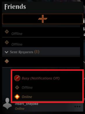 MTG Arena Friends List status options