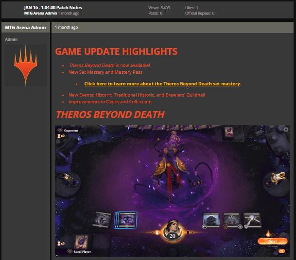 MTG Arena Jan 16 1.04.00 game update notes
