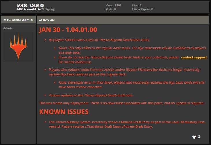 MTG Arena Jan 30 1.04.01.00 bug fix notes
