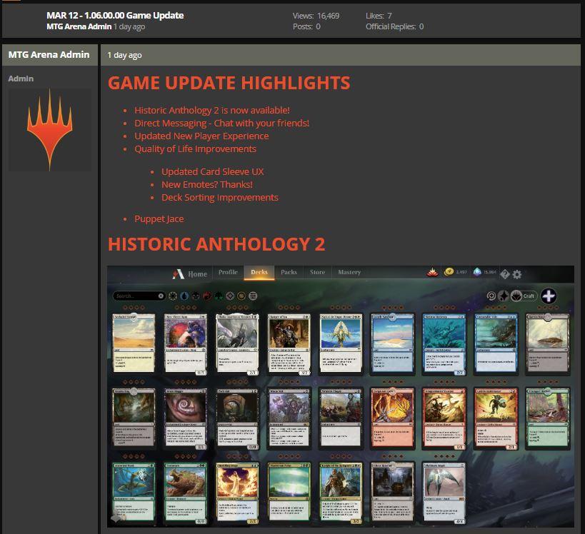 MTG Arena Mar 12 1.06.00.00 game update notes screenshot