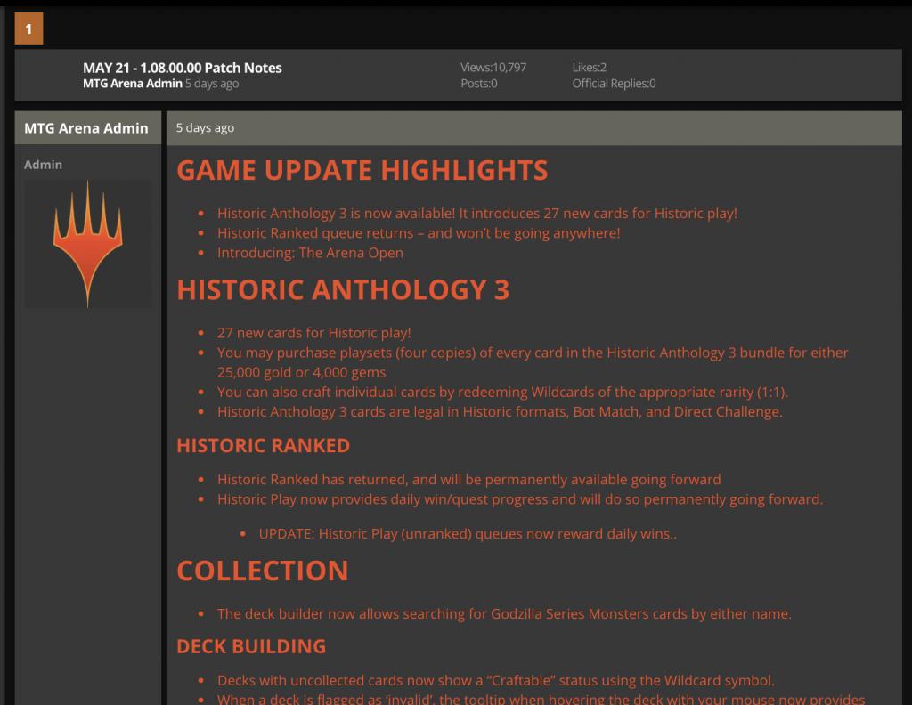 MTG Arena May 21 1.08.00.00 game update