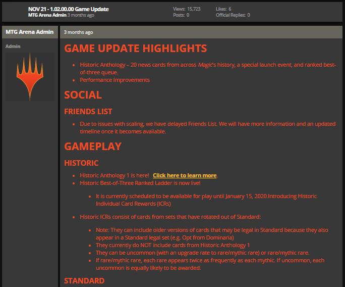 MTG Arena Nov 21 1.02.00.00 game update notes